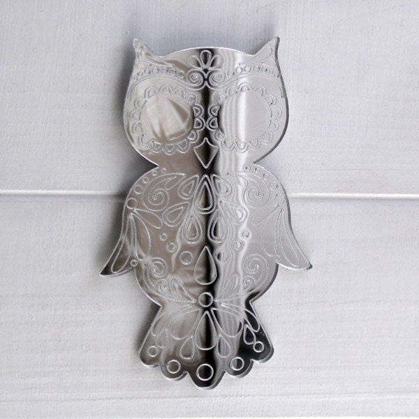 Decorative Mandala Wise Owl Engraved Acrylic Mirror