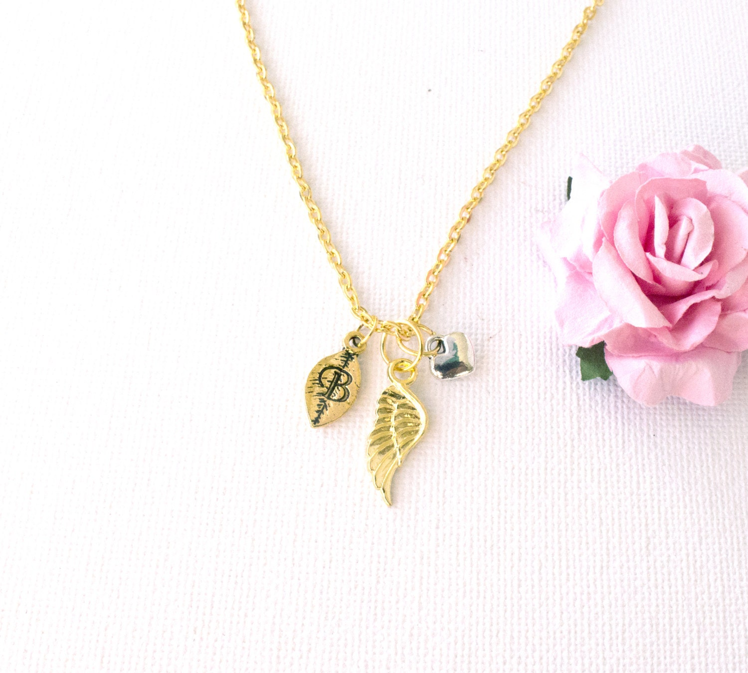 Gold angel wing Necklace gold angel necklace angel jewellery angel Best Friends Gift Idea sisters necklace angel jewellery GAIN0217