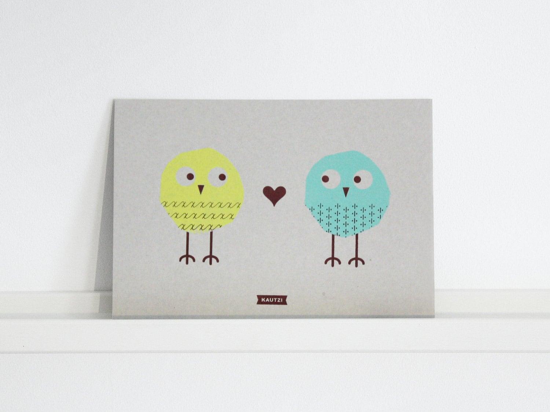 Rosie & Joe – Handprinted Maxicard Yellow/Mint