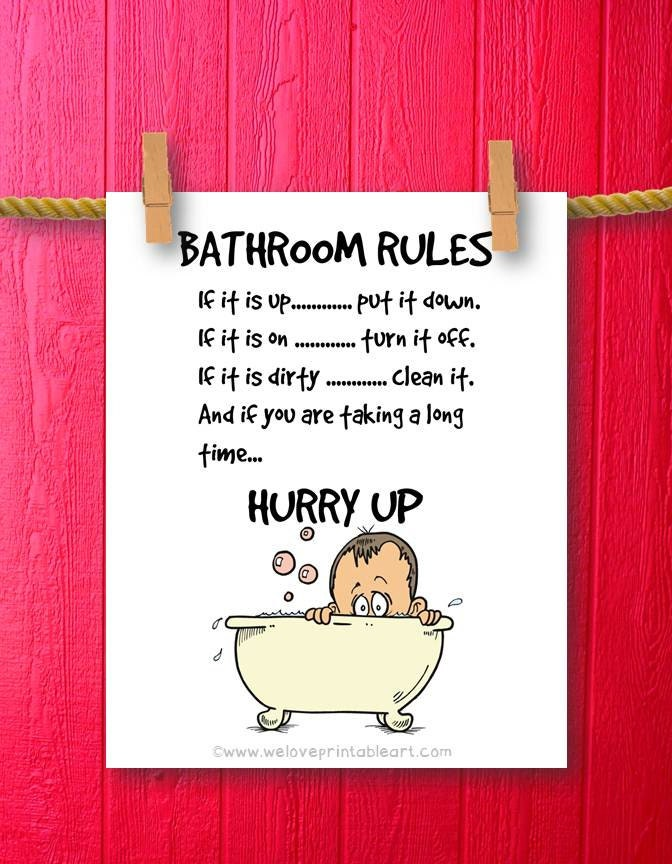 Funny bathroom art bathroom art prints by weloveprintableart for Bathroom quote signs