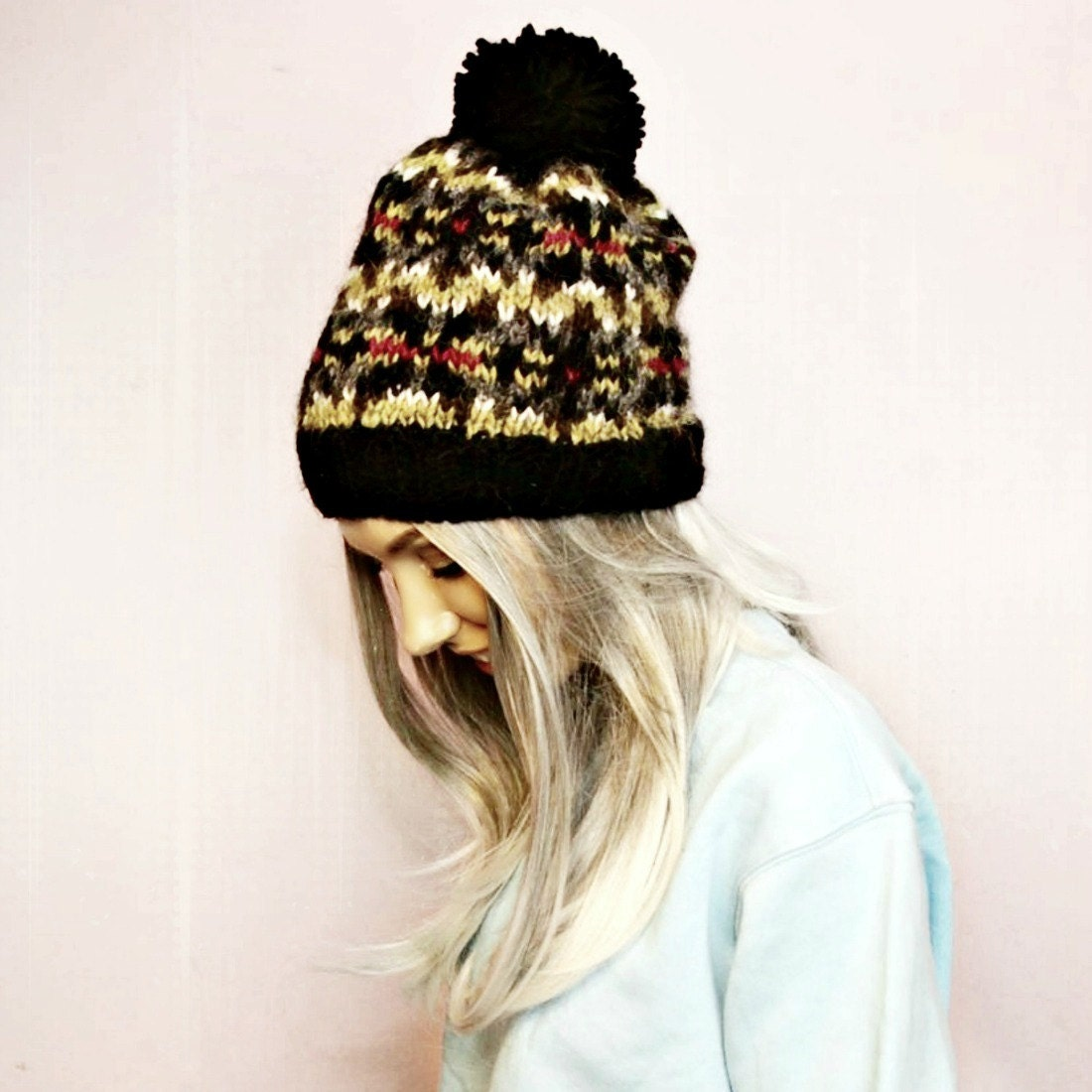 Knitted Hat  Wool Hat  Fair Isle  Alafosslopi  Bobble Hat  Hat For Woman  Hat For Man  Unisex