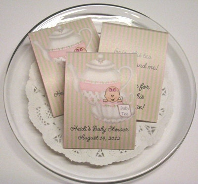 items similar to tea party baby shower tea bag favors set of 10 on