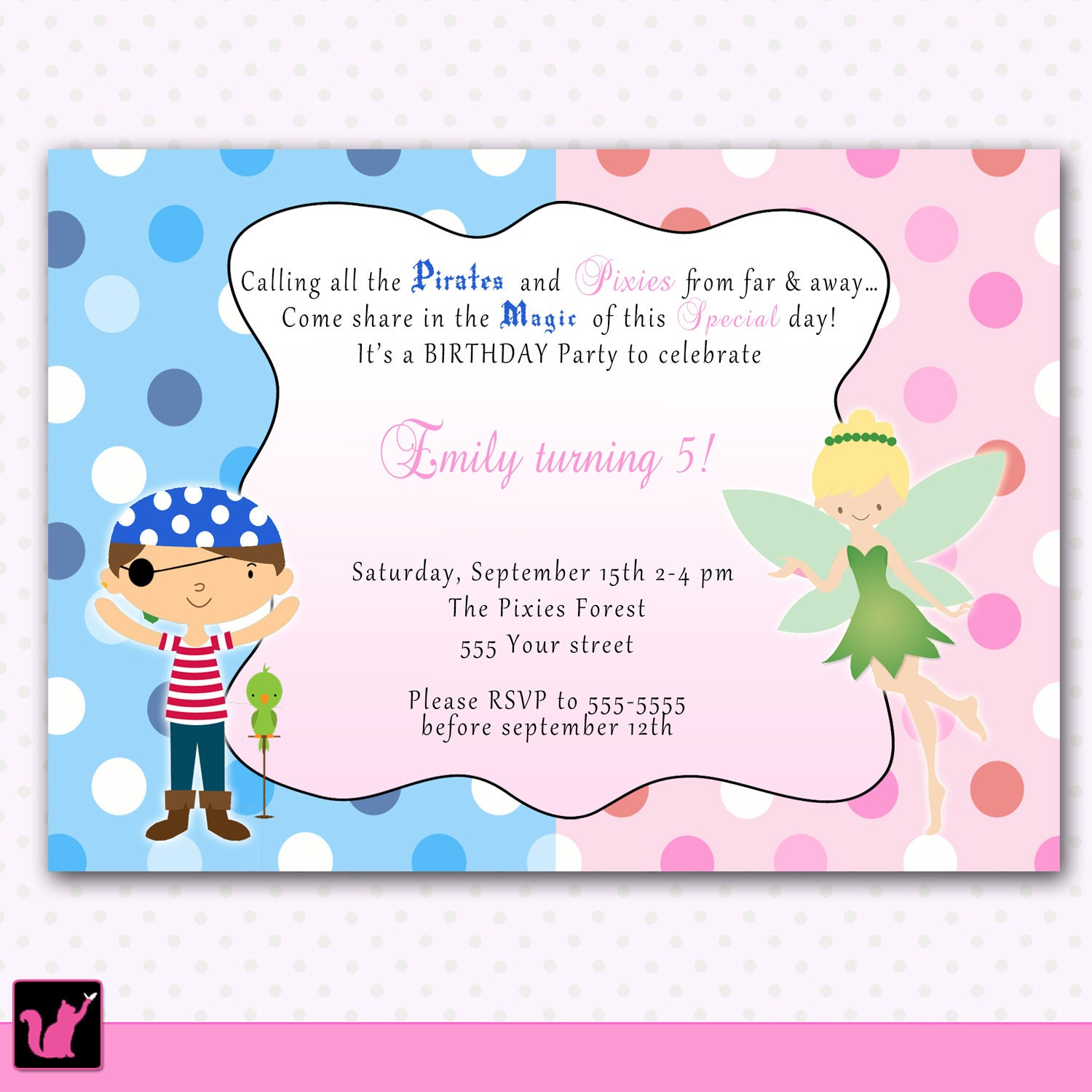 Snap Princess Birthday Invitation Pirate Girl Boy Siblings Twins ...