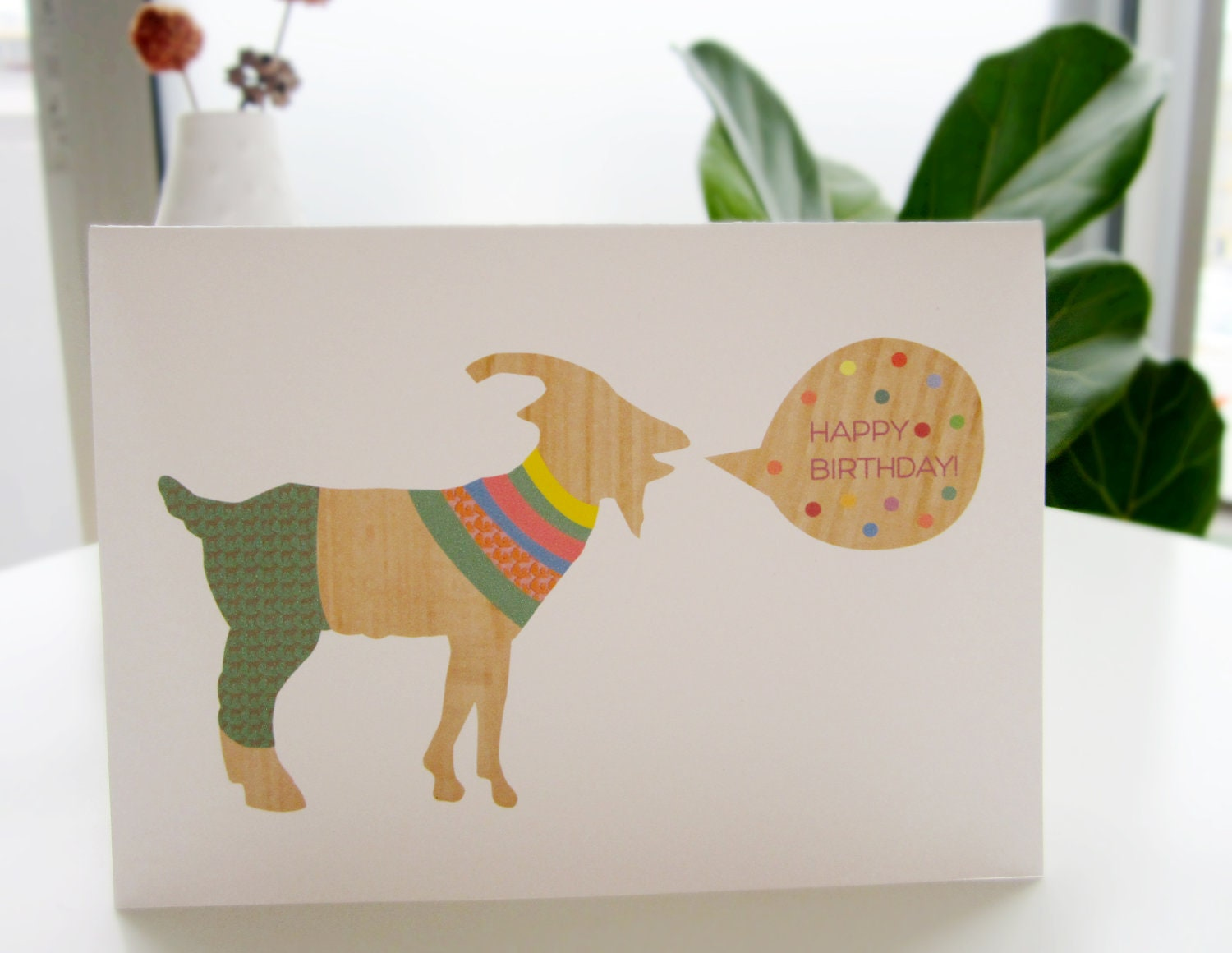 Happy Birthday Card . goat wishing you a happy birthday. unique cute colorful handmade card 4.25 X 4.5""