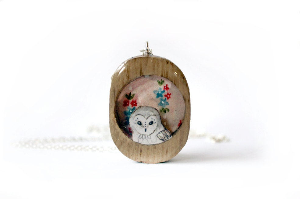 pink owl, romantic, valentines day necklace, valentines jewelry, pink floral, wood necklace, wooden jewelry, owl jewelry, iamabird, barn owl - iamabird