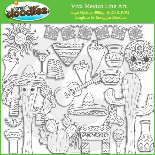 Line Art Etsy : Viva mexico line art by scrappindoodles on etsy