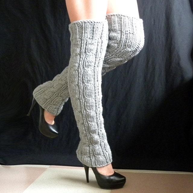 Knitting Pattern For Ladies Leg Warmers : Items similar to knit leg warmers Women Accessories Legwear Winter very long ...