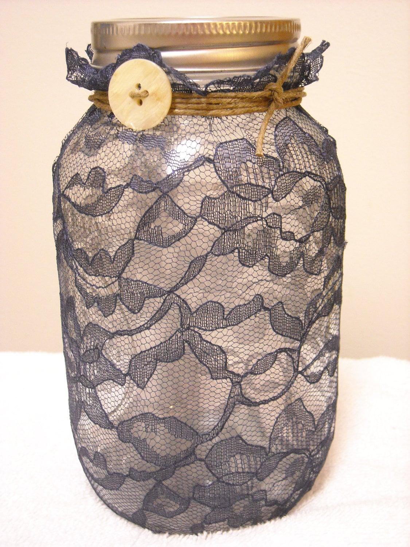 Decorações do casamento - azul marinho Centerpieces frasco de pedreiro - Castiçal ou Vaso