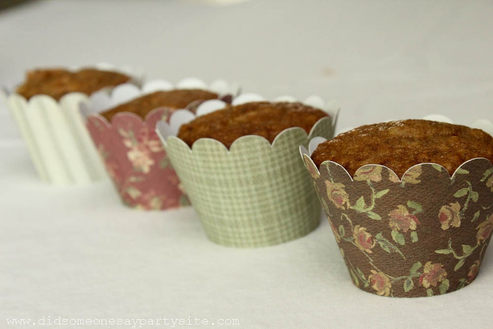 Vintage Floral Cupcake Wrappers - FREE SHIPPING
