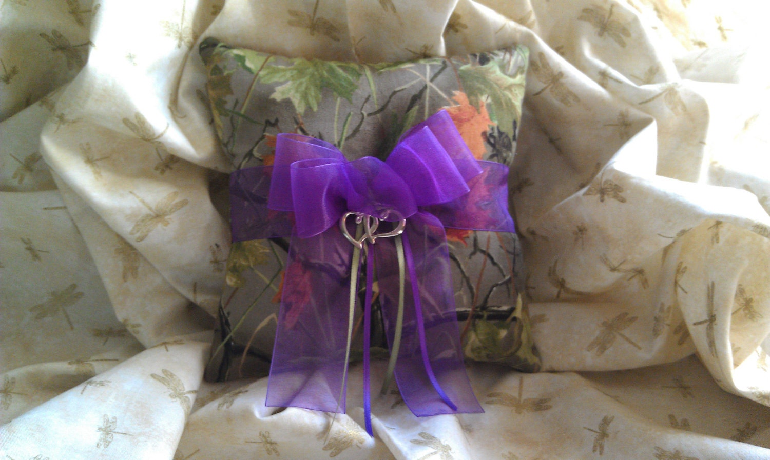 Realtree CAMO Wedding Ring Bearer Pillow With Purple By Kits257