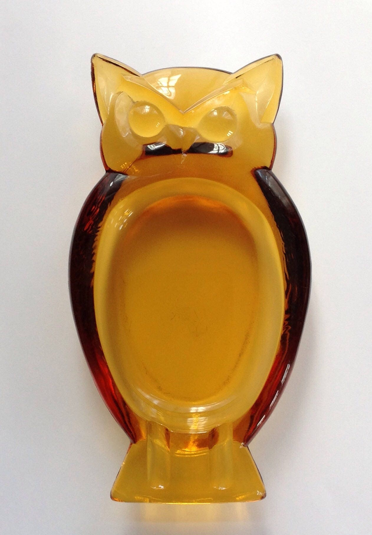 Viking Art Glass Epic Amber Glass Owl Dish 1960s