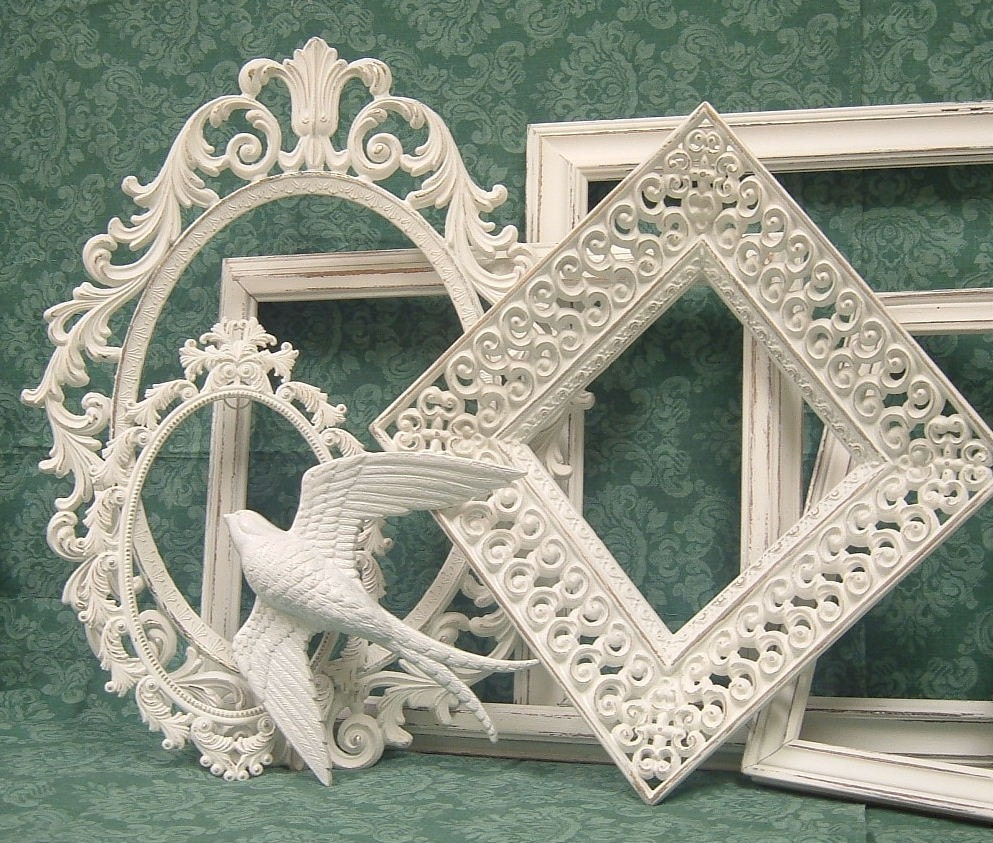Shabby Chic Picture Frames White Ornate By