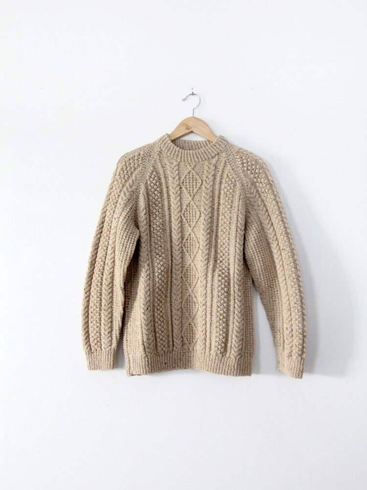 vintage fisherman's sweater / 1970s cream wool sweater - 86Vintage86