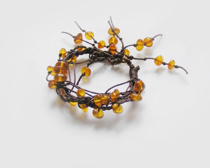 Baltic amber Bracelet, natural stone & cord - kapelusznik