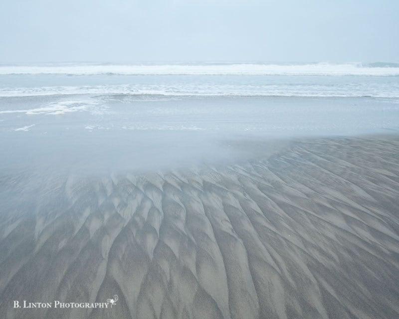 Oregon Beach Photography - Beach Sand - 8x10 Fine Art Photograph - Landscape Photography - Blue White Brown Home Decor - BLintonPhotography