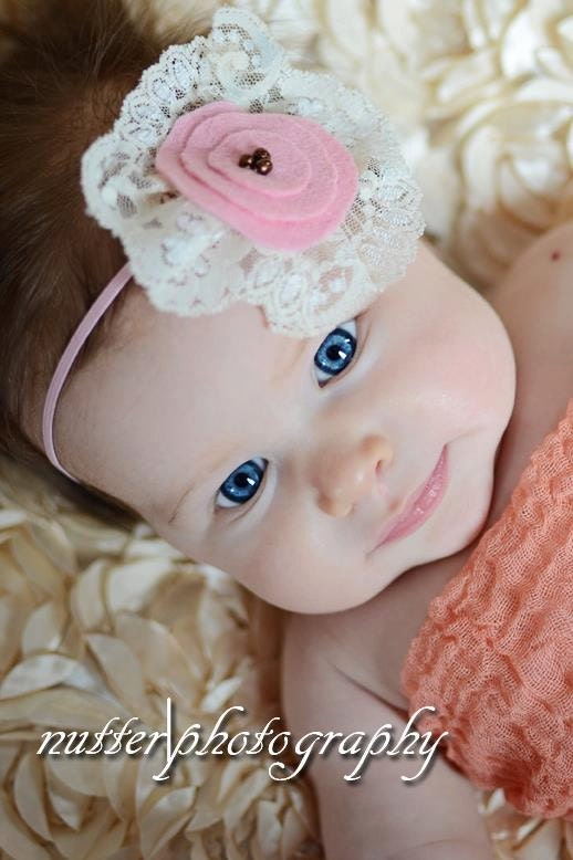 Newborn headband, Baby girl photo props, Pink baby Photography prop  pink  felt flower lace skiny elastic - ZucchiniIsland