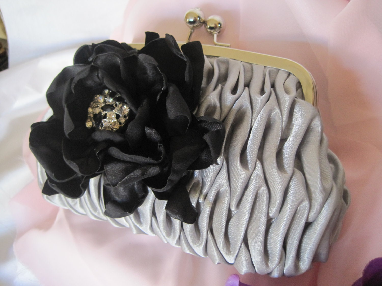 Silver Grey Pleated Satin Clutch with a Black Satin Fabric Flower and Black and Clear Rhinestone Accent Bridesmaid Mother of the Bride - theraggedyrose