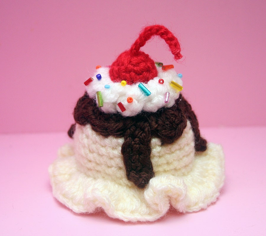 Ice Cream Scoop Hair Clip - Vanilla with Hot Fudge - Made to Order