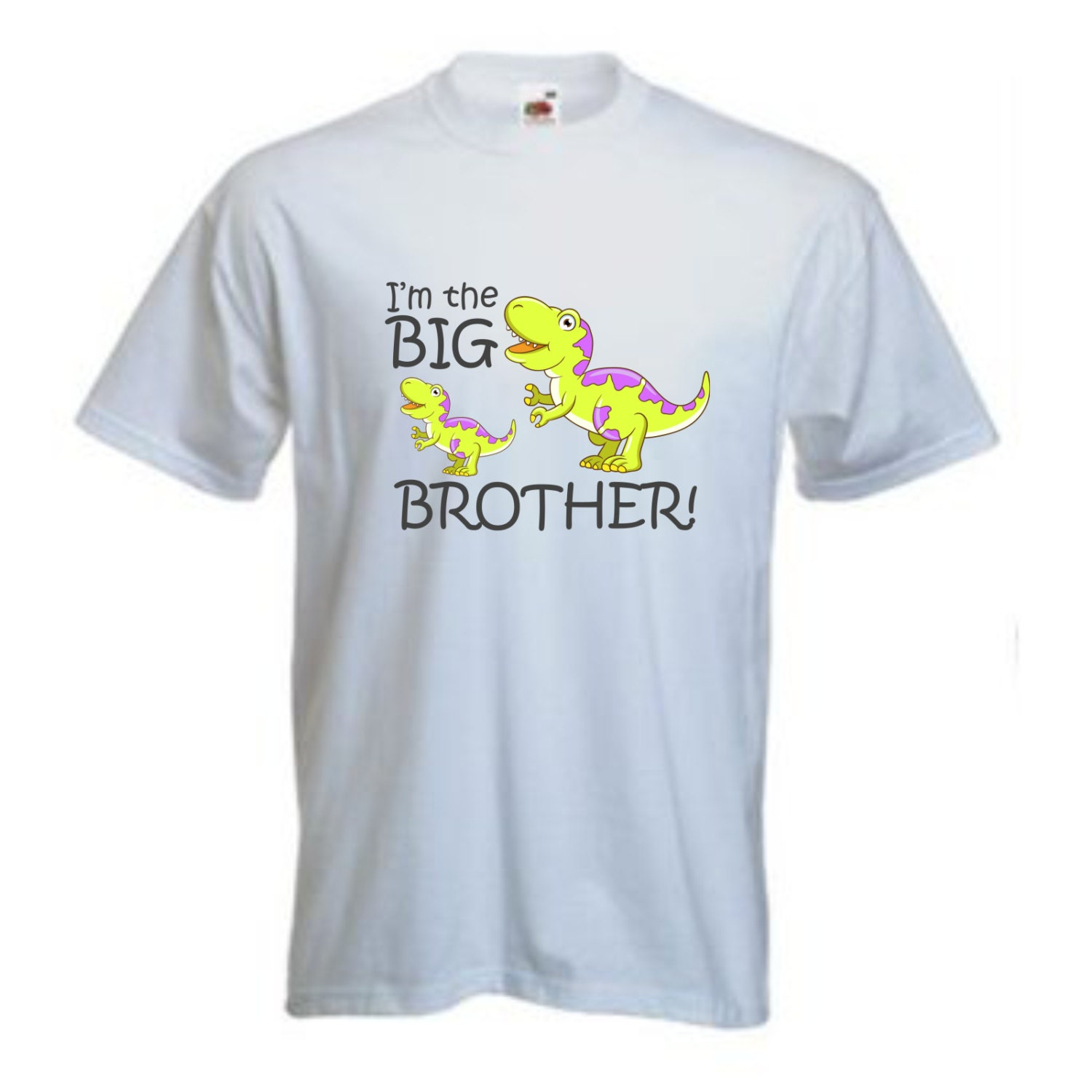 Personalised childrens t shirt Im the Big Brother Green Dinosaur Design