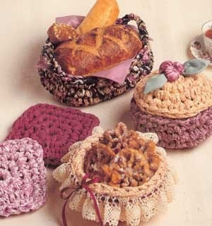 Rag crochet patterns Fabric Gift Baskets and baby by ...