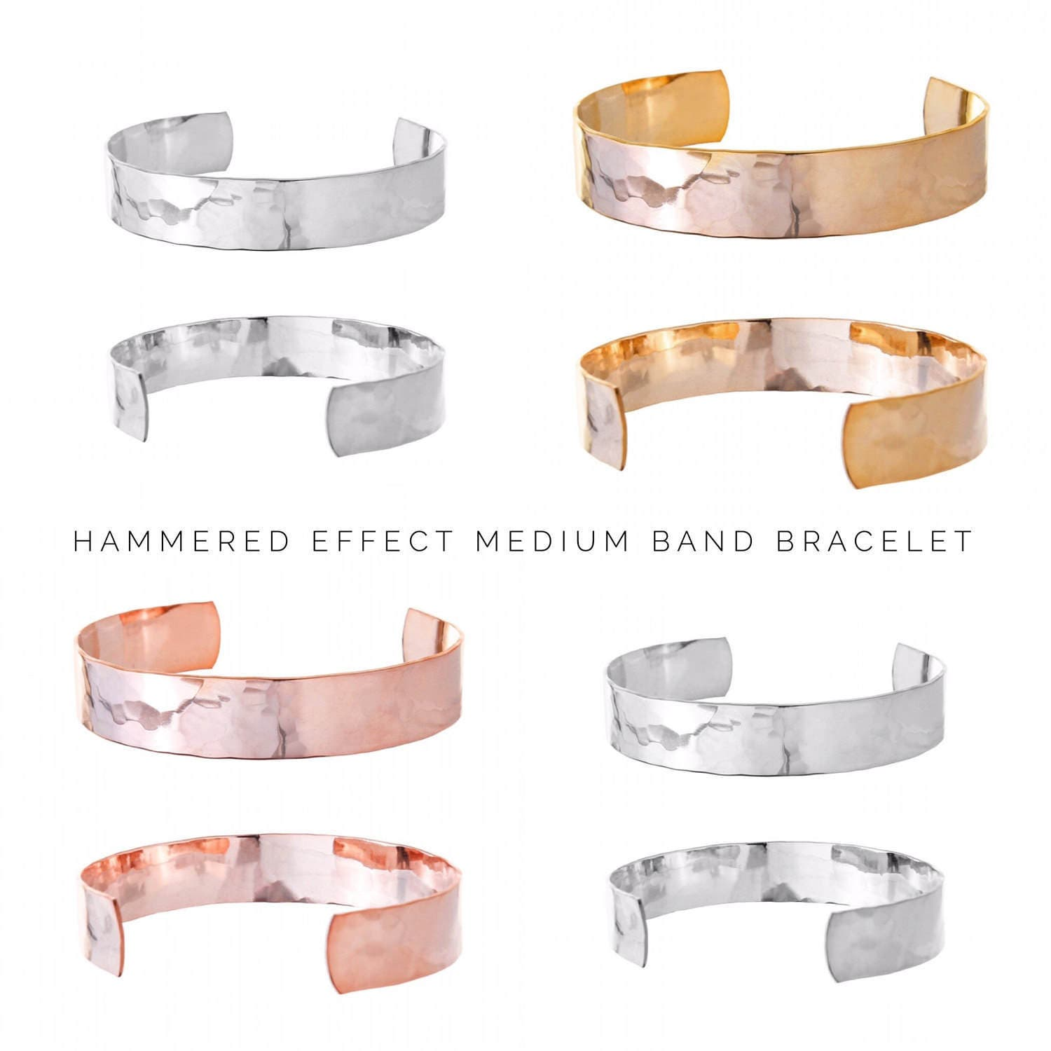 Gift Ideas for Her  Personalised Cuff Bracelet  Womens Gifts Gold Cuff Bracelet Rose Gold Cuff Bracelet Hammered effect bracelet (C177)