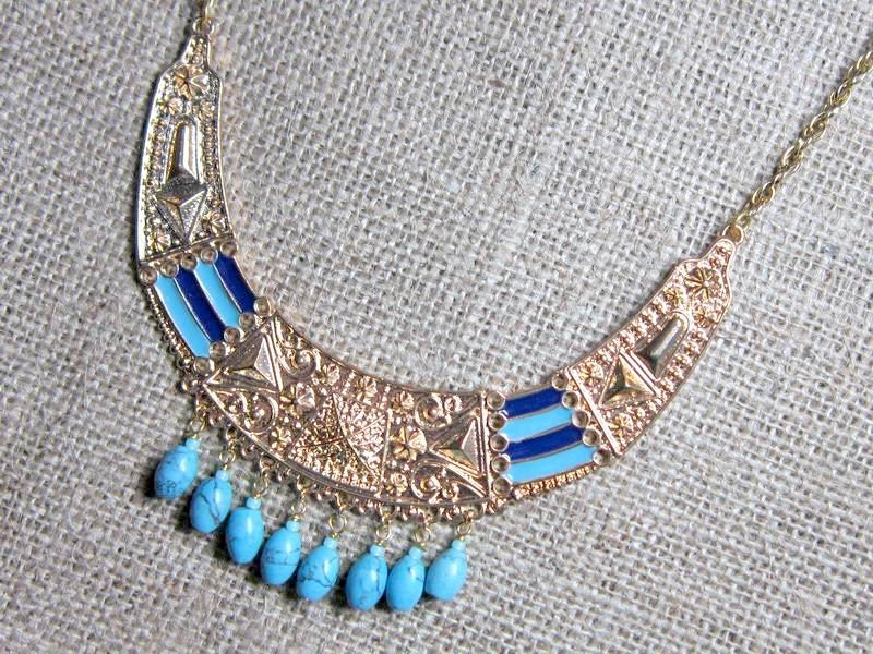 Turquoise Beaded Egyptian Syle Bib Gold Necklace  beaded crescent pendant statement necklace