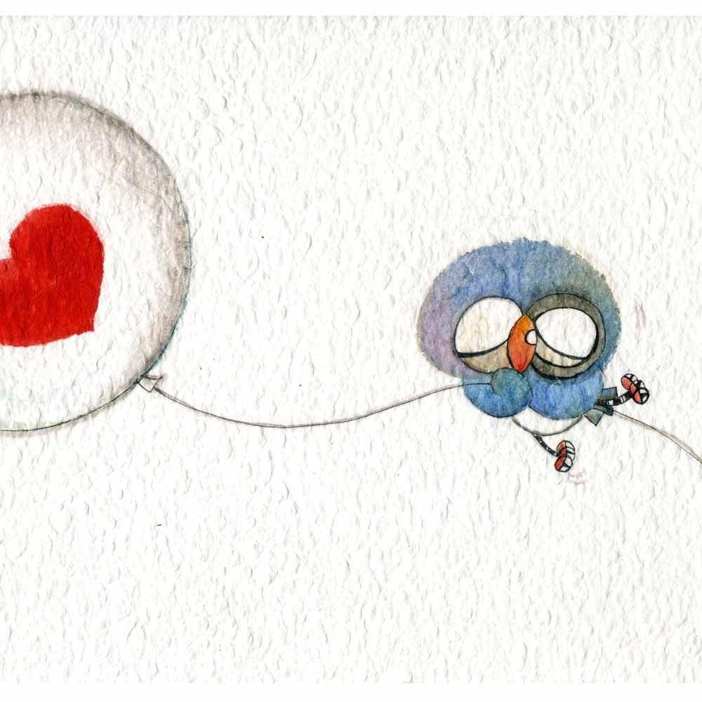 indulgence ( Print ) owl, balloon, heart, love - BeiLeXian