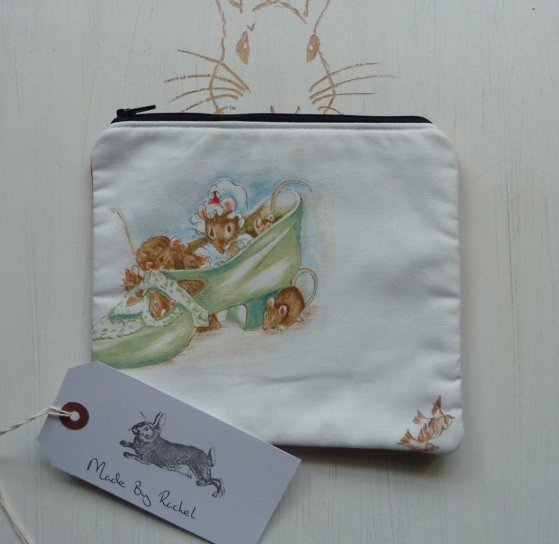 Handmade Mouse Makeup Bag Beatrix Potter Very Rare Fabric Cosmetic Pencil Case Pouch Padded Lined
