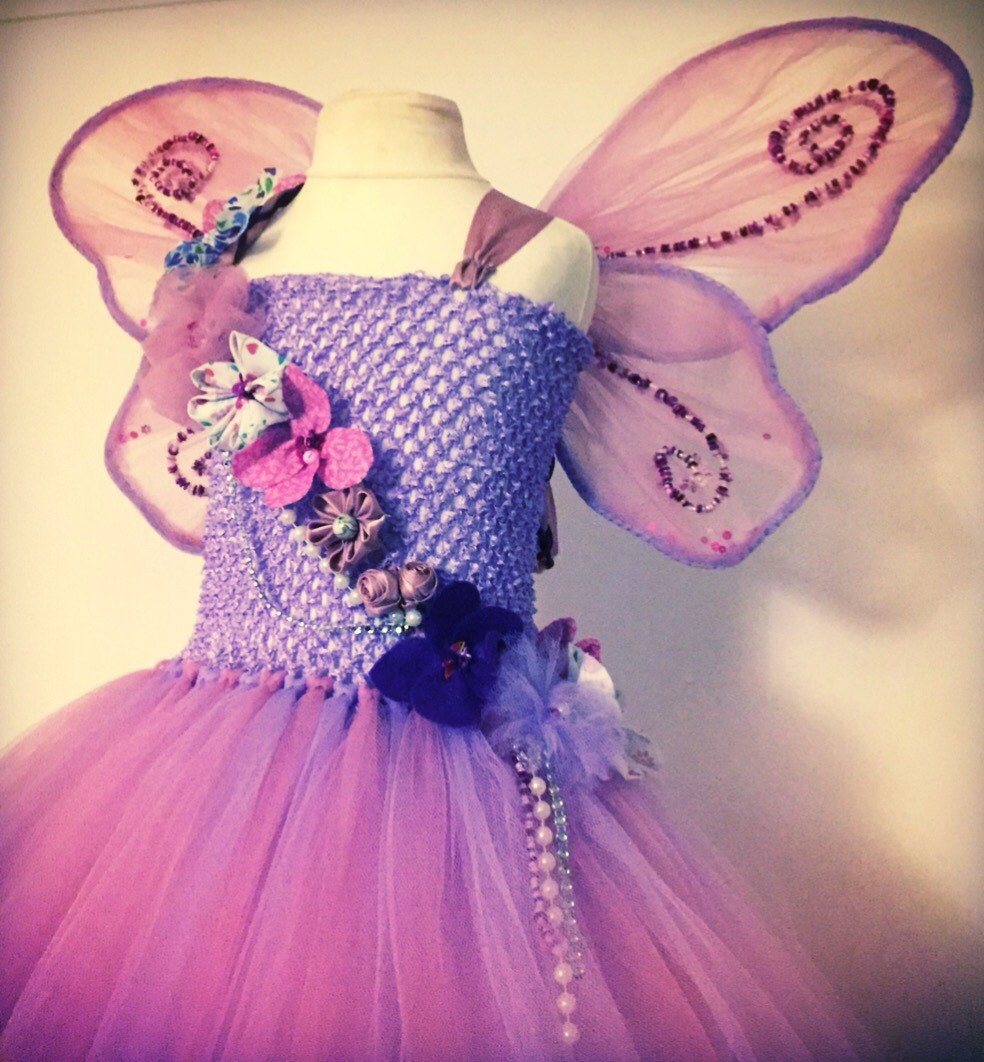 Flower fairy costume for girls faery cosplay faerie fancy dress fae tutu with wings and floral  crown