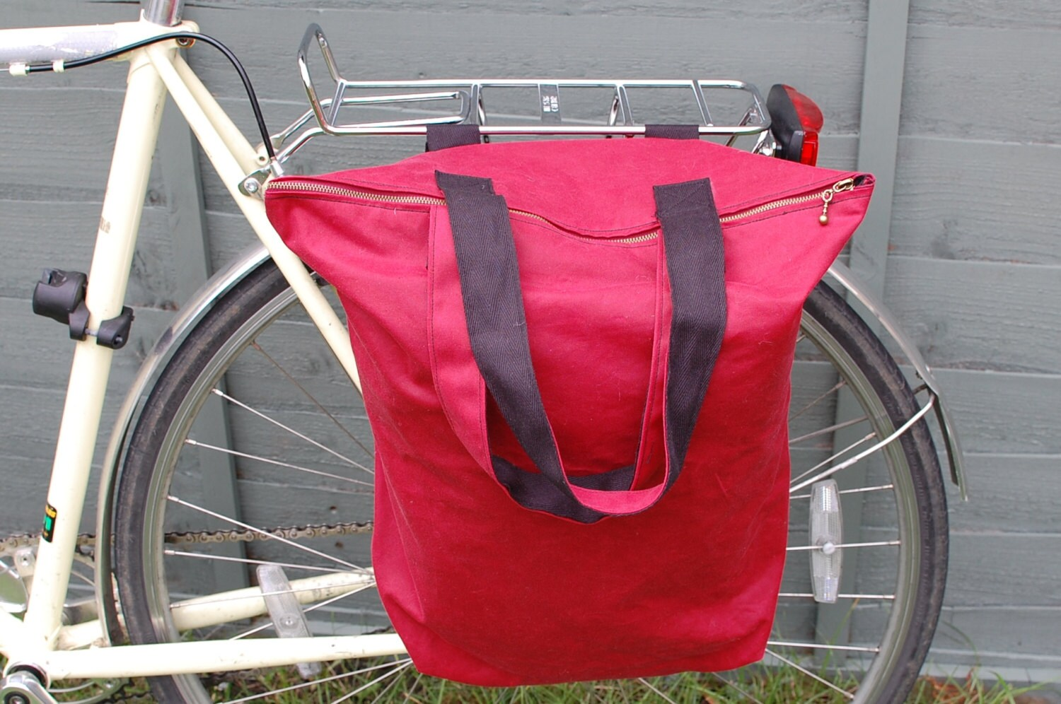 Hybrid bicycle pannier and shoulder tote bag  red antique waxed cotton.