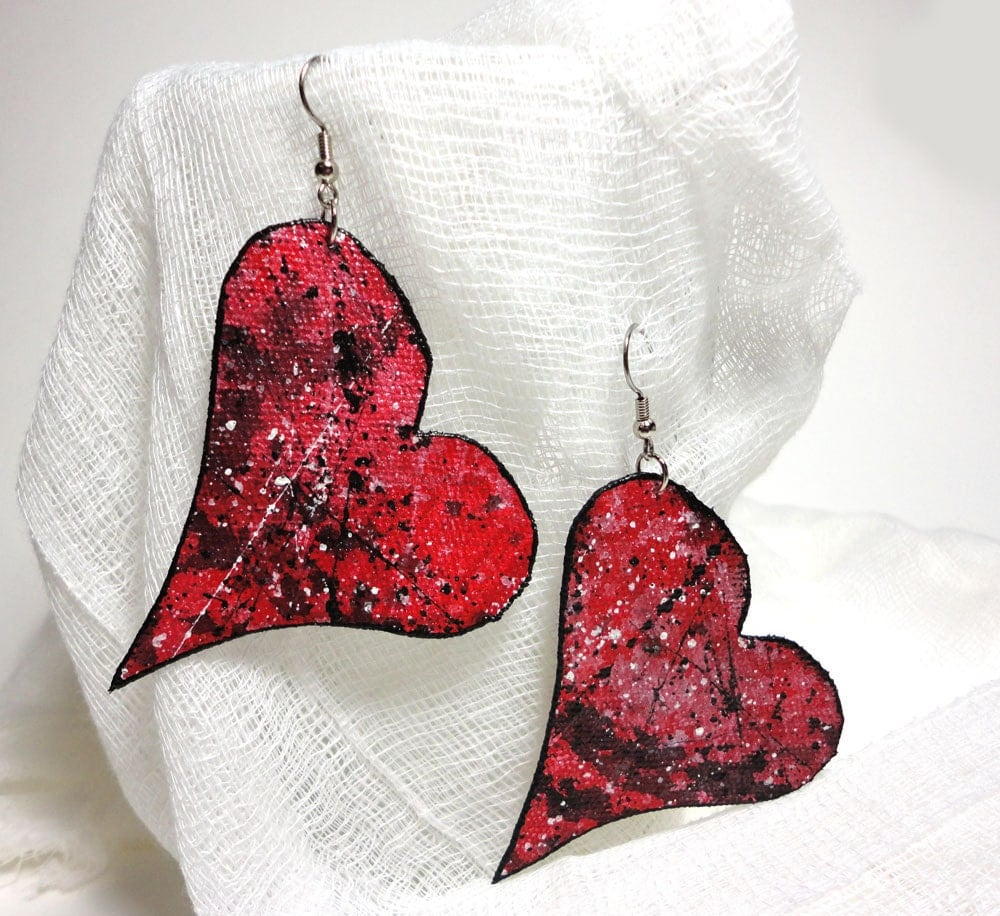 Heart Earrings - handpainted canvas - red with black and white splashes