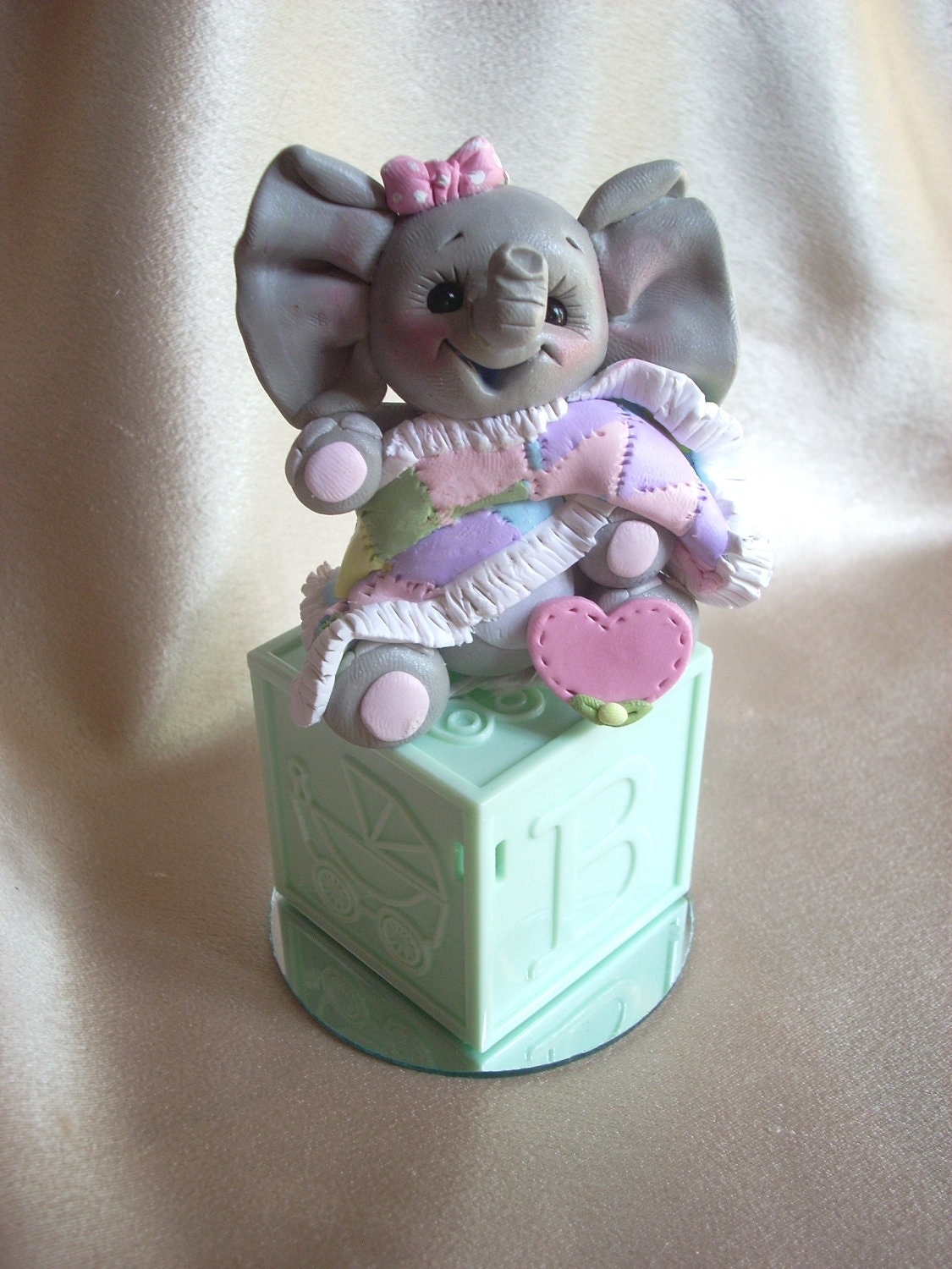 elephant baby shower cake topper polymer clay by clayqts ...