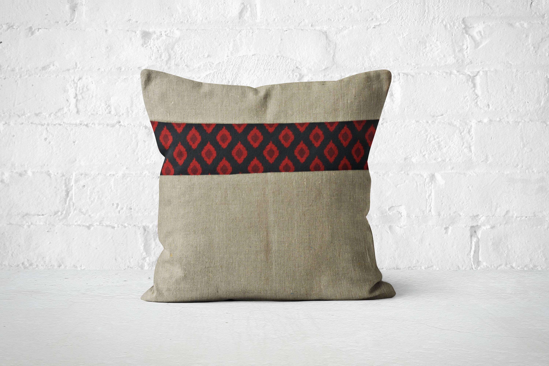 Travel Inspired Dcor Ikat Pillow Vintage boho bedroom Textured pillow Plush Throw pillows Home interior ideas Bright Boho cushion