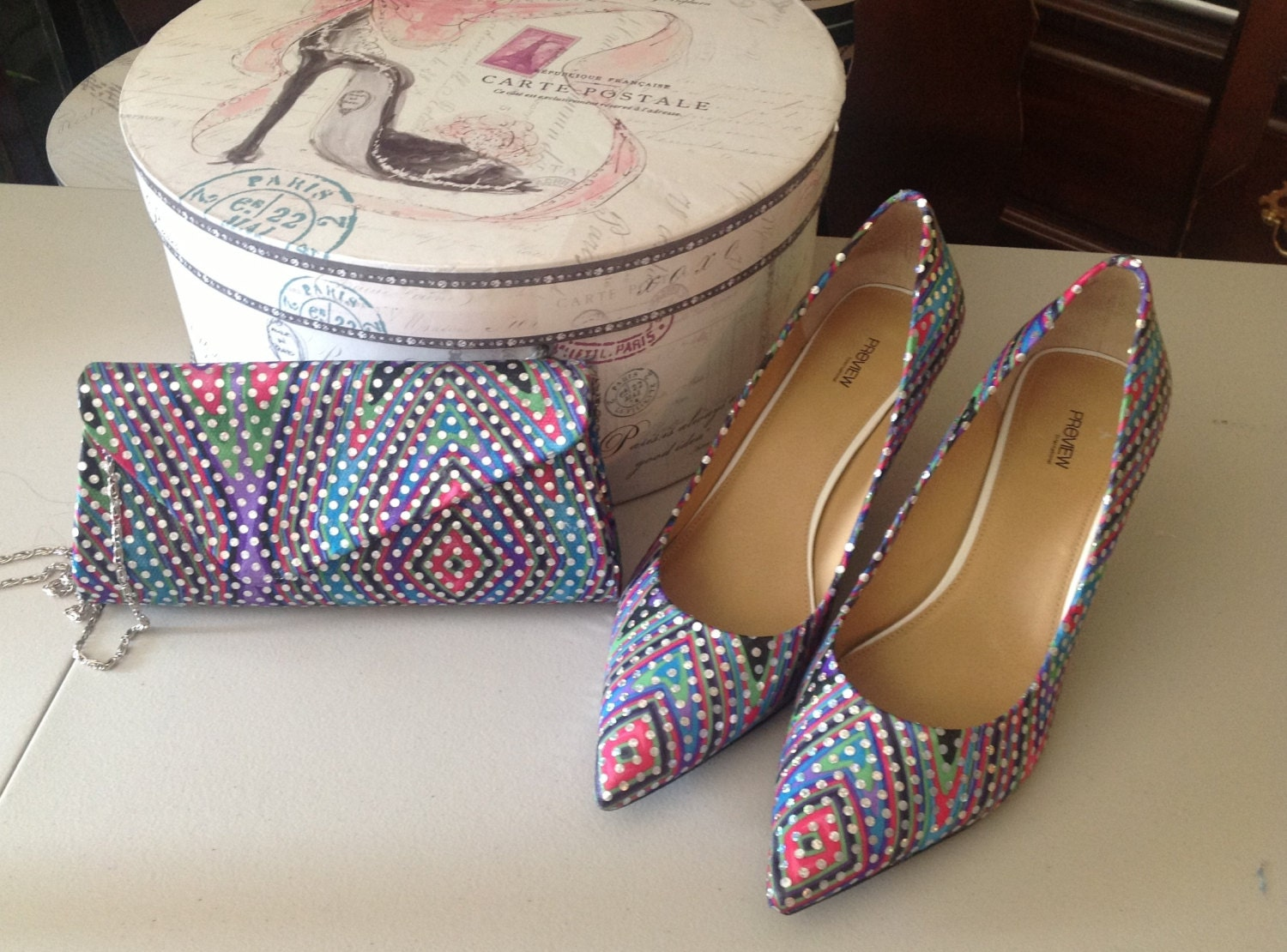 Women evening shoes and matching clutch - Rebranded with Shimmering