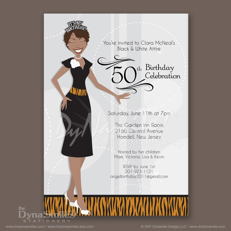 Crowned Adult Woman With Short Hair - Birthday Party Invitations - African American - Tiger Print