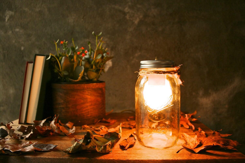 Mason Jar Lighting Glass Lamp Night Light or Desk Lamp - Minimalist Design
