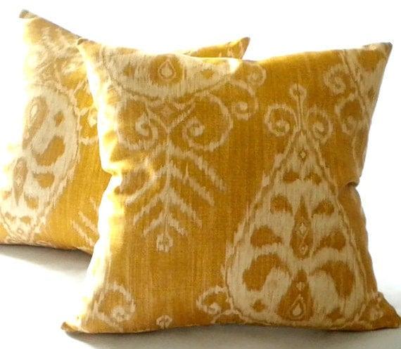 IKAT Gold  Print Pillow Cover - MicaBlue