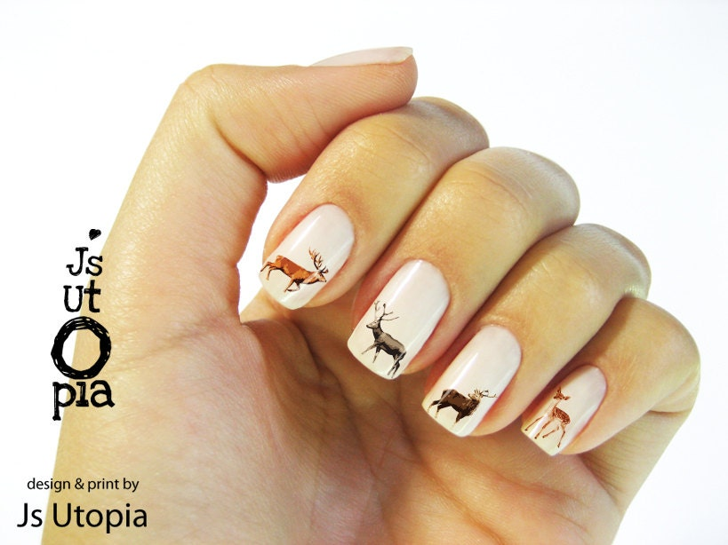 Deer Water Transfer Nail Sticker - JsUtopia