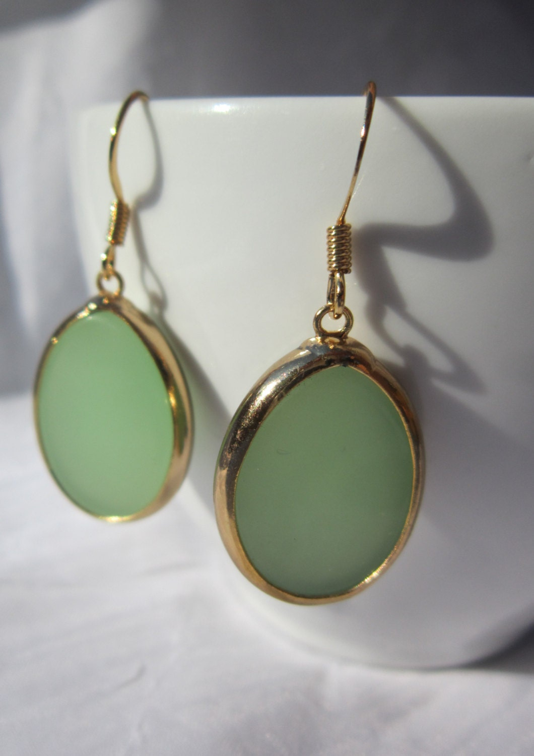 Gold Wrapped Oval Green Calcite Stone Earrings with 14k Gold Filled French Hooks. - ValerinaFelting