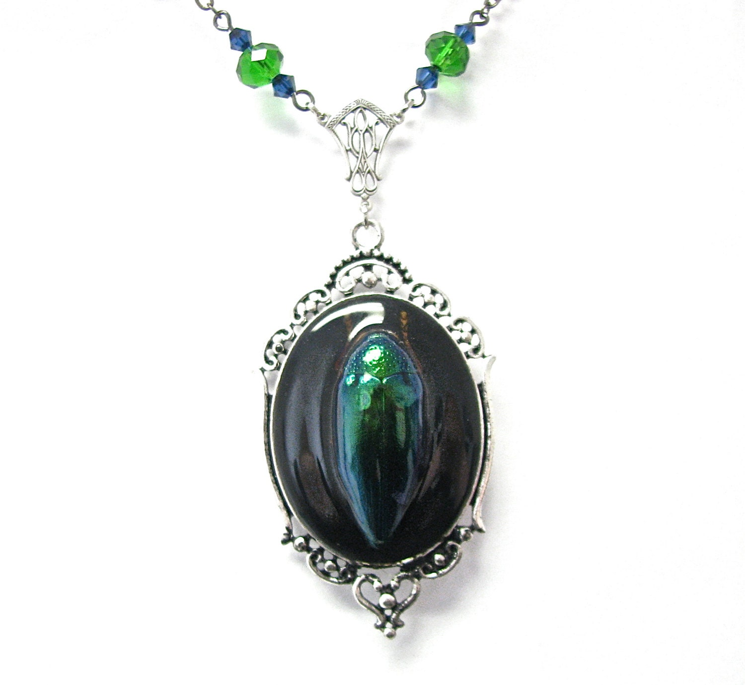 Items similar to REAL Bug Necklace Blue Jewel Beetle ...