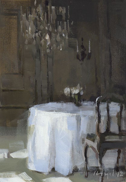 Art Print Green Wedding Dining 9x12 on 11x14 - Reception Table by David Lloyd - lloydgallery