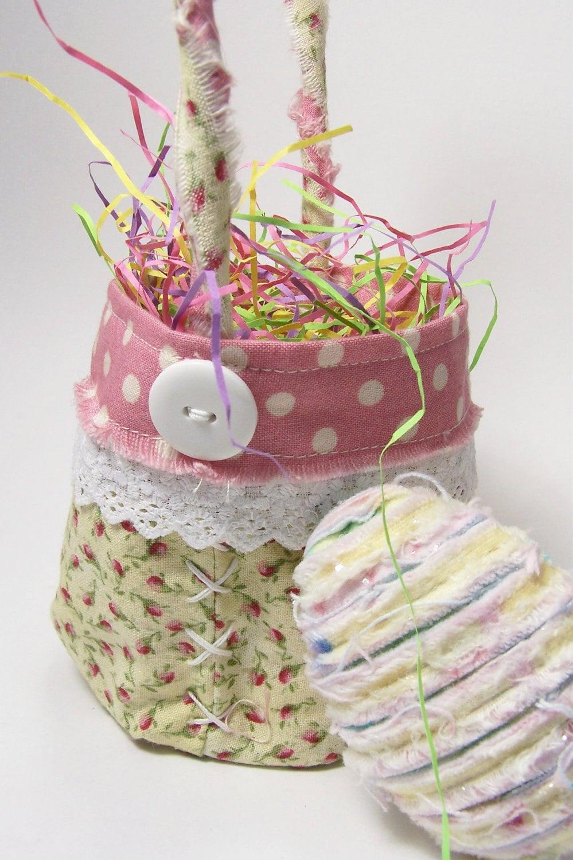 Handmade fabric easter basket chenille egg by - Custom made easter baskets ...