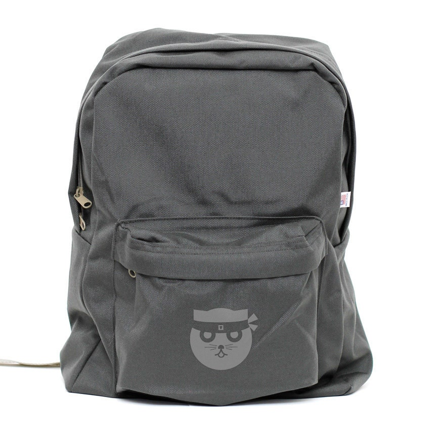 Backpack - Kung Fu Watson the Cat - Classic School Style Gray