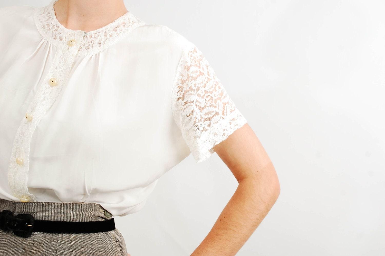 Vintage 1950s Blouse - 50s Lace Blouse - Ivory Lace - concettascloset
