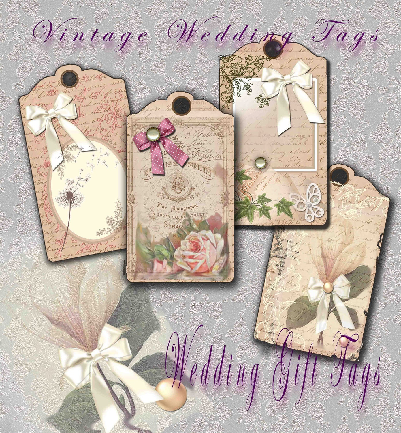 Printable Gift Tags Digital Vintage by SparkalDigitalDesign
