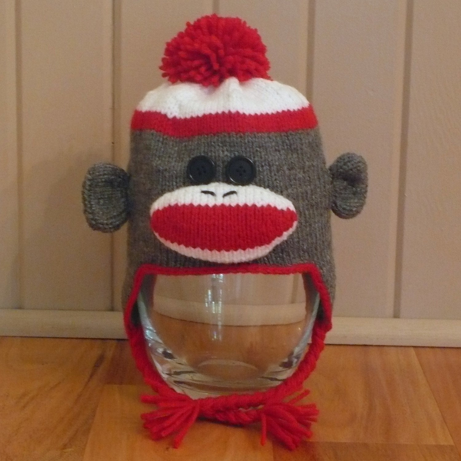 Sock Monkey Hat Knitting Pattern : Sock Monkey Earflap Hat Knitting Pattern by TrappingsandTrinkets