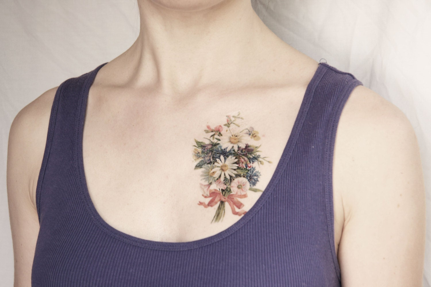 vintage spring flowers bouquet temporary tattoo - mothers day - pepperink