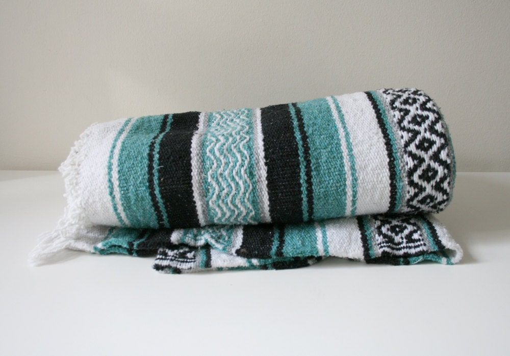 Teal Mexican Blanket - boxofhollyhocks