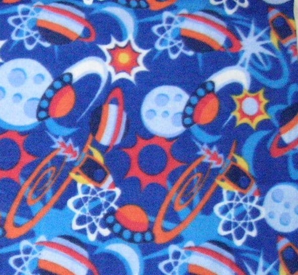 Planets and space ships fleece yardage by mfcrafts on etsy for Space fleece fabric