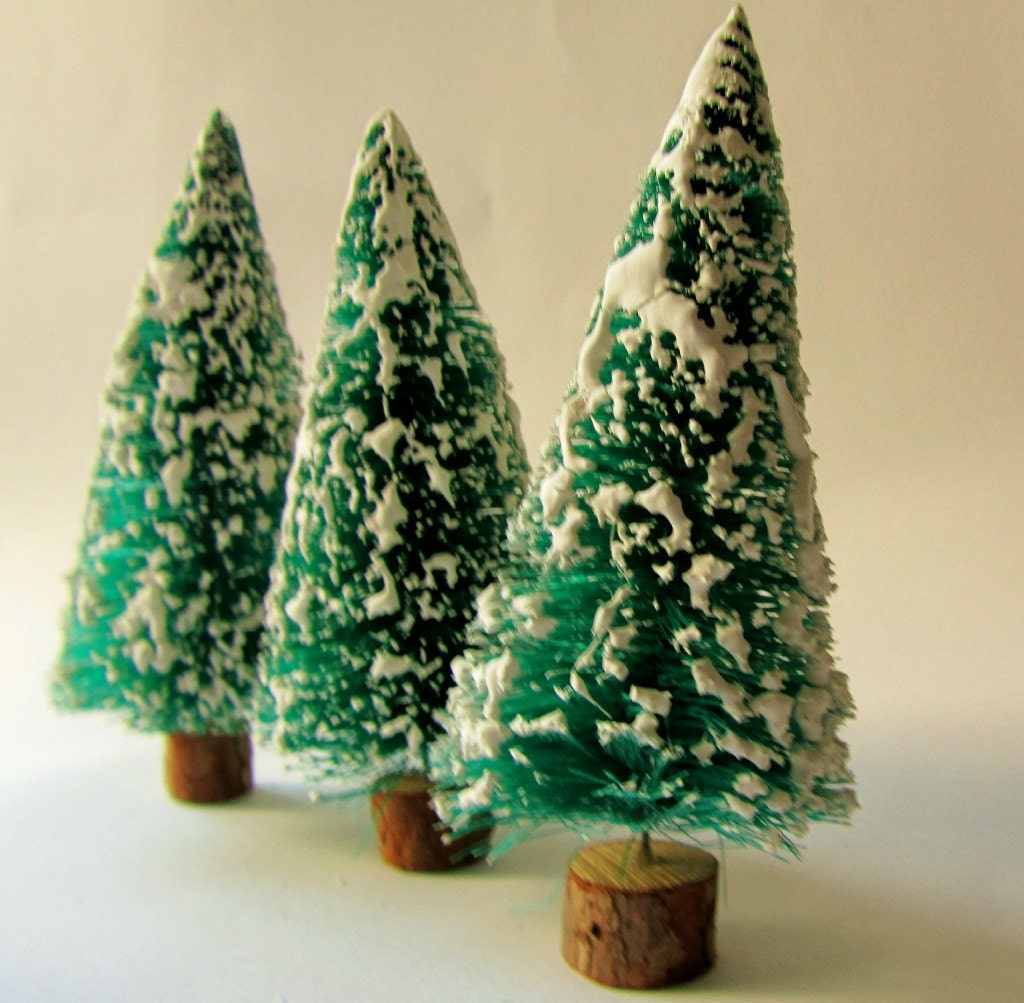Vintage Flocked Bottlebrush Christmas Trees